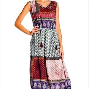 Papillon Printed Patch Tie Neck Dress